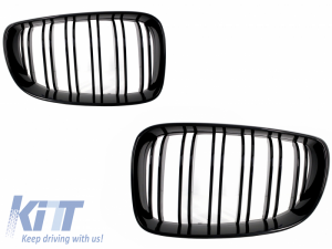KITT brings you the new Central Grilles Kidney Grilles BMW 1 Series E87 Double Stripe M Design 2007-2011 Piano Black