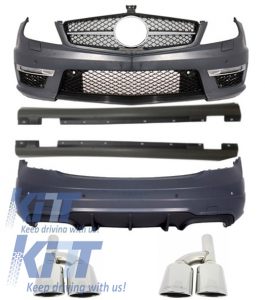 KITT brings you the new Complete Body Kit Mercedes C-class W204 (12-up) Facelift C63 AMG with Front Grille AMG Facelift SL Look Piano Black and Exhaust Muffler Tips