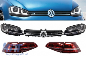 KITT brings you the new Assembly Headlights 3D LED Turn Light DRL, Taillights Full LED and Grille Volkswagen Golf 7 VII (2012-up) Silver R-line Look