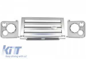 KITT brings you the new Central Grille & Headlights Covers Assembly Land Rover Defender (1990-2016) Silver