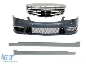 KITT brings you the new Complete Front Bumper Assembly with Central Grille Mercedes Benz W221 S-Class (2005-2010) S63 S65 AMG Look and Side Skirts Short Version