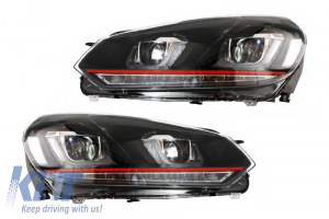 KITT brings you the new Headlights VW Golf 6 VI (2008-2013) Golf 7 3D LED DRL U-Design LED Flowing Turning Light Red Stripe GTI