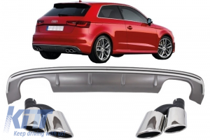 KITT brings you the new Audi A3 8V Hatchback Sportback (2012-2015) Rear Bumper Valance Diffuser with Exhaust Muffler Tips Tail Pipes S3 Quad Design