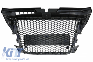 KITT brings you the new Badgeless Front Grille Audi A3 8P Facelift (2007-2012) RS Design Honeycomb Piano Black Grille With PDC Covers