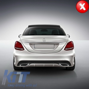 KITT brings you the new Mercedes C-Class W205 S205 (2014-2018) AMG C63 Look Rear Bumper Diffuser for Standard Shadow Black Line