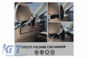 KITT brings you the new Multifunctional Detachable Car Coat Hanger Headrest and Foldable Black