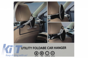 KITT brings you the new Multifunctional Detachable Car Coat Hanger Headrest and Foldable Gray