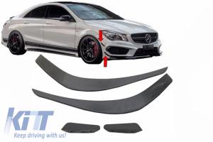 KITT brings you the new Front Bumper Splitters Fins Aero Mercedes Benz CLA W117 C117 X117 (2013-2016) CLA45 AMG Design Carbon Film Coating