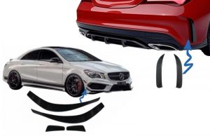 KITT brings you the new Rear Bumper Splitters Fins Side Vent Flaps Mercedes CLA W117 C117 X117 (2013-2018) CLA45 AMG Flics Design