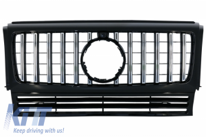KITT brings you the new Front Grille White suitable for MERCEDES G-Class W463 (1990-2014) New G63 GT-R Panamericana Design Black Chrome