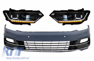 KITT brings you the new Front Bumper suitable for VW Passat B8 3G (2015-2018) R-Line with Headlights LED Bi-Xenon Matrix with Sequential Dynamic Turning Lights