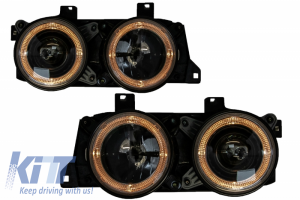 KITT brings you the new Headlights Suitable for BMW 7 Series E32 5 Series E34 ANGEL EYES BLACK