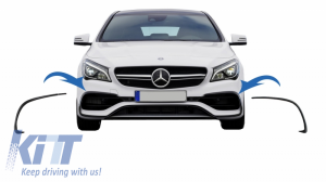 KITT brings you the new Front Bumper Flaps Side Fins Flics suitable for Mercedes CLA W117 (2016-Up) with AMG Sport Bumper Piano Black Edition