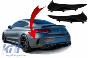 KITT brings you the new Rear Bumper Flaps Side Fins Flics suitable for MERCEDES C-Class Coupe Cabriolet C205 A205 (2014-2018) Piano Black