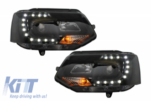 KITT brings you the new LED Daytime Running Lights Headlights suitable for VW Transporter T5 (2010-2015) Xenon Look Black