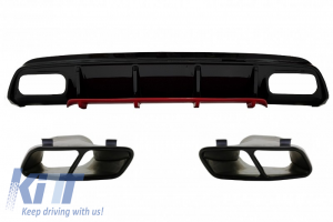 KITT brings you the new Rear Bumper Valance Diffuser with Exhaust Muffler Tips suitable for MERCEDES W176 A-Class (2012-2018) A45 Facelift Design Red Edition