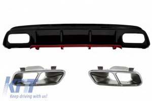 KITT brings you the new Rear Bumper Valance Diffuser with Exhaust Muffler Tips Chrome suitable for MERCEDES W176 A-Class (2012-2018) A45 Facelift Design Red Edition