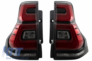 KITT brings you the new Taillights Led suitable for TOYOTA Land Cruiser FJ150 Prado (2010-2018) Red Clear Light Bar 2018+ Design