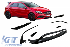 KITT brings you the new Front Bumper Splitters Fins Aero suitable for Mercedes A-Class W176 Facelift AMG (2015-2018) Piano Black