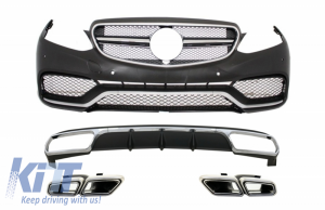 KITT brings you the new Front Bumper with Rear Diffuser and Exhaust Muffler Tips Chrome suitable for Mercedes E-Class W212 Facelift (2013-2016) only Standard Bumper