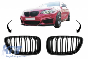 KITT brings you the new Central Kidney Grilles suitable for BMW 2 Series F22 F23 F87 (2014-up) Double Stripe M Design Piano Black