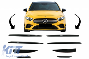 KITT brings you the new Front Bumper Splitters Fins Aero suitable for MERCEDES A Class W177 Hatchback V177 Sedan (04.2018-up) A45 Design Piano Black