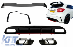 KITT brings you the new Rear Diffuser & Exhaust Muffler Tips Black with Splitters Fins and Roof Boot Spoiler suitable for MERCEDES A-Class W176 (2012-2018) A45 Facelift Design Red Edition