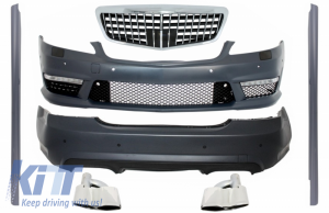 KITT brings you the new Body Kit suitable for MERCEDES Benz W221 S-Class (2005-2012) Front /Rear Bumper with Exhaust muffler tips and Side Skirts S63 S65 Design