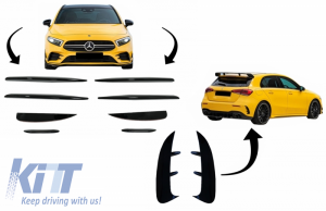 KITT brings you the new Front and Rear Bumper Splitters Fins Aero suitable for MERCEDES A Class W177 Hatchback (04.2018-up) A45 Design Piano Black