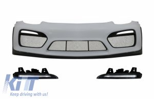 KITT brings you the new Front Bumper with DRL LED suitable for Porsche Cayman 981C & Boxster 981 (2012-2016) GT4 Design