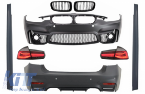 KITT brings you the new Complete Body Kit suitable for BMW F30 (2011-2019) with LED Taillights Dynamic Sequential Turning Light EVO II M3 CS Design and Kidney Grilles Double Stripe M Design Piano Black