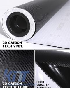 Carbon Fiber Textured Vinyl Auto Wrap 1.27m x 30m Black