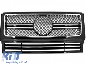 KITT brings you the new Front Grille Mercedes W463 G-Class (1990-2012) New G65 AMG Look Piano Black with Chrome Frame Edition