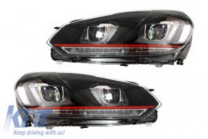 KITT brings you the new Headlights VW Golf 6 VI (2008-2013) Golf 7 3D LED DRL U-Design LED Flowing Turning Light Red Stripe GTI