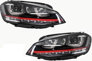 KITT brings you the new Front Bumper Volkswagen VW Golf VII Golf 7 2013-up GTI Look with Headlights 3D LED DLR RED and Grille