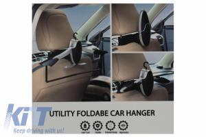 KITT brings you the new Multifunctional Detachable Car Coat Hanger Headrest and Foldable Gray