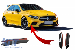 KITT brings you the new Front Bumper Flaps Side Fins suitable for MERCEDES A Class W177  (2019) AMG Design Black Edition