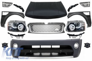 KITT brings you the new Front Conversion suitable for Land Range ROVER Sport L320 (2005-2013) Autobiography Design Bumper Headlights Hood and Fenders