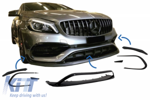 KITT brings you the new Front Bumper Splitters Fins Aero kit conversion suitable for Mercedes CLA W117 FACELIFT (2016-2018) CLA45 A-Design