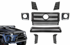 KITT brings you the new Real Carbon Front Parts suitable for Mercedes G-Class W463 (1990-2014) G65 Design Grille Headlights Covers Spoiler
