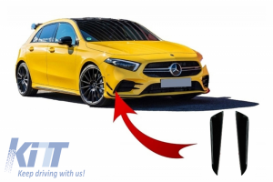 KITT brings you the new Front Bumper Flaps Side Fins Flacs suitable for MERCEDES A Class W177 V177 (04.2018-) A35 Design Black Edition