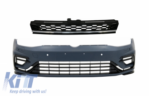 KITT brings you the new Front Bumper with Central Badgeless Grille Chrome suitable for VW Golf 7.5 VII Facelift (2017-up) GTI R Design