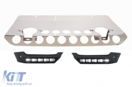 Front Bumper Skid Plate Off Road Package Under Run Protection + DRL Lights Mercedes Benz G-class W463  (1989-up) AMG Design - COSPMBW463FBAMG