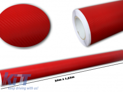3d Carbon fiber film textured - car vinyl 1,52 (30m) - Fol3DW2Red