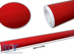 3d Carbon fiber film textured - car vinyl 30 meters - CF307/RED