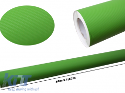 3d Carbon fiber film textured - car vinyl 30 meters - CF329/Green
