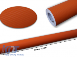 3d Carbon fiber film textured - car vinyl 30 meters - CF328/Orange
