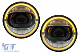 7 Inch CREE LED Headlights DRL Angel Eye Amber suitable for JEEP Wrangler JK (2007-2017) conversion to 2018 model - HLJEWJKLED