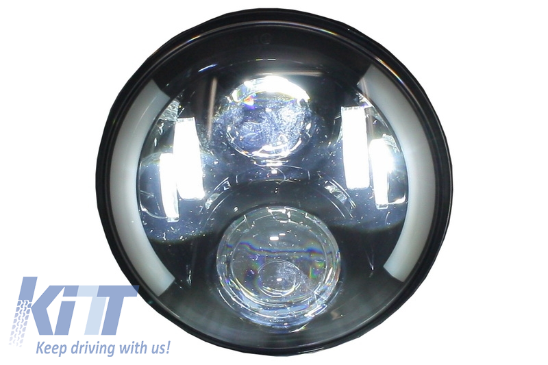 7 Inch CREE LED Headlights Jeep Wrangler JK Mercedes Benz G-Class W463  suitable for Land ROVER Defender Half Halo Black