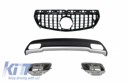 Air Diffuser with Exhaust Muffler Tips and GT-R Panamericana Grille All Black for Mercedes A-Class W176 (2012-08.2015) Sport Pack - CORDMBW176AMGBCM